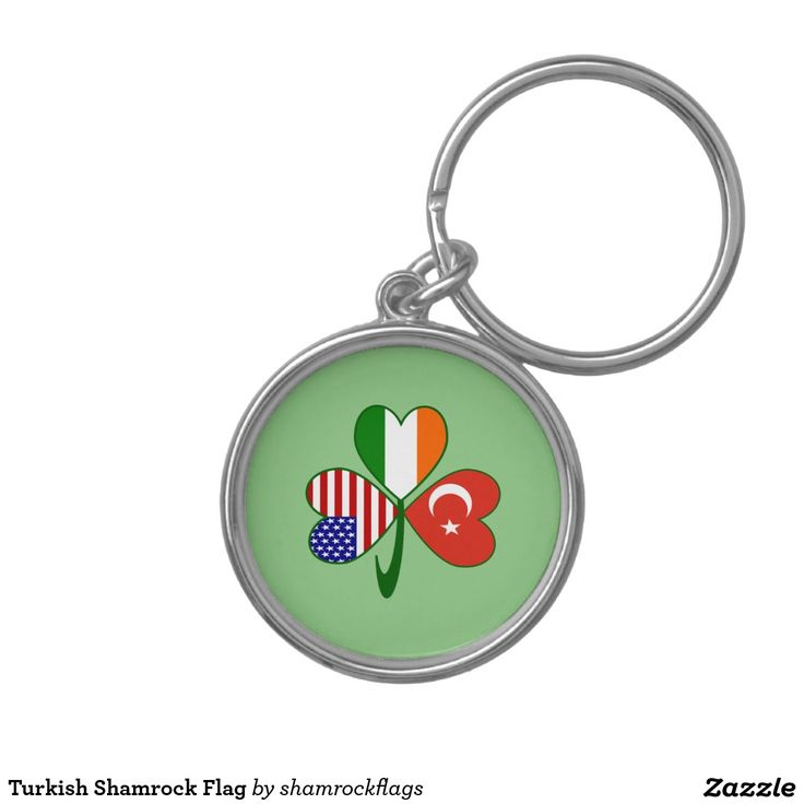 Turkish Shamrock Flag Silver-Colored Round Keychain