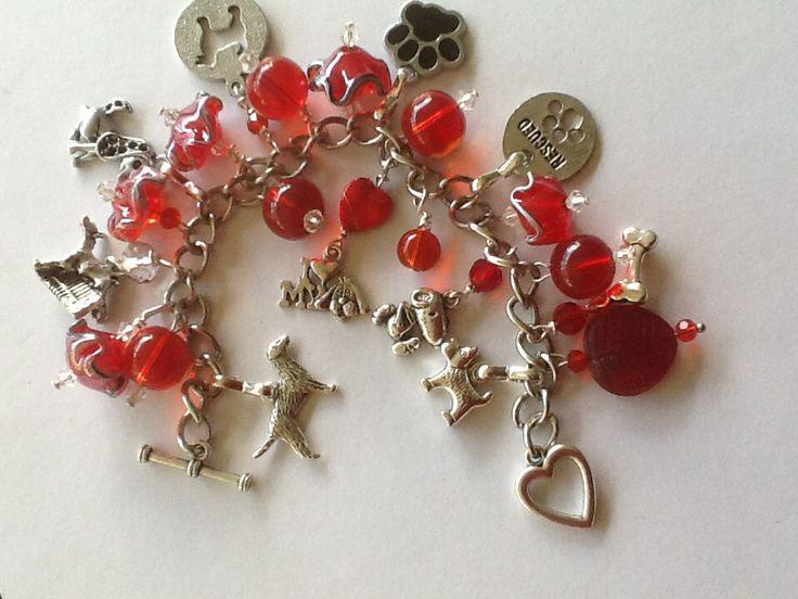 Red Rescue dog charm bracelet