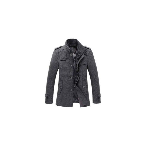 Match Mens Wool Classic Pea Coat Winter Coat ON SALE FOR WINTER STORM ❤ liked on Polyvore featuring mens, men's clothing, men's outerwear and men's coats