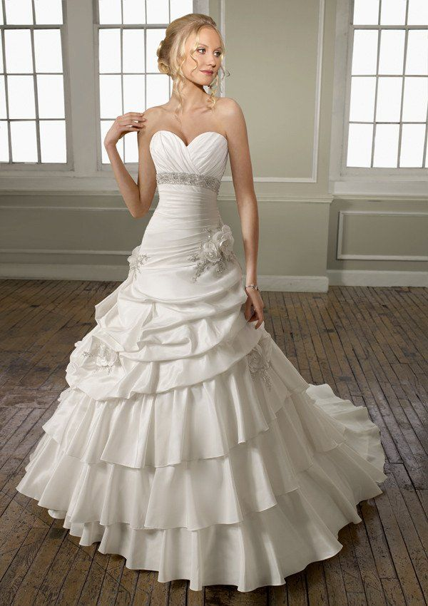 "Mori Lee Wedding Gown - Style 1654 Size 8 Hollow to Hem - 55"" (short) Ivory, silk taffeta, sweetheart neckline, A-line bodice with corset back Tags still on with extra beads, shawl."