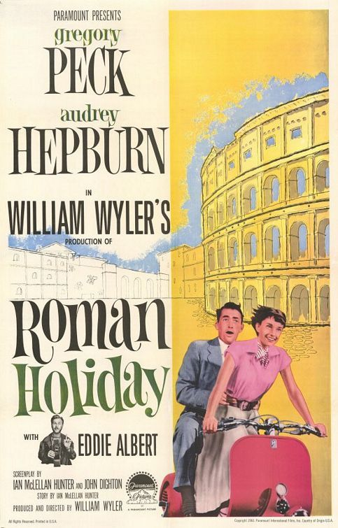 Roman Holiday- Gregory Peck, Audrey Hepburn Romantic Comedy- A bored and sheltered princess escapes her guardians and falls in love with an American newsman in Rome.