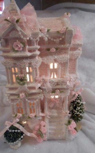 Shabby Pink Victorian Christmas Village House Chic Roses Lace Glitter   eBay
