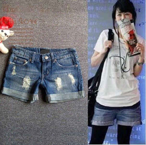 2014 Korean Style Women Denim Jeans Hole Short Lady Trousers Boots Pant S M L Xl
