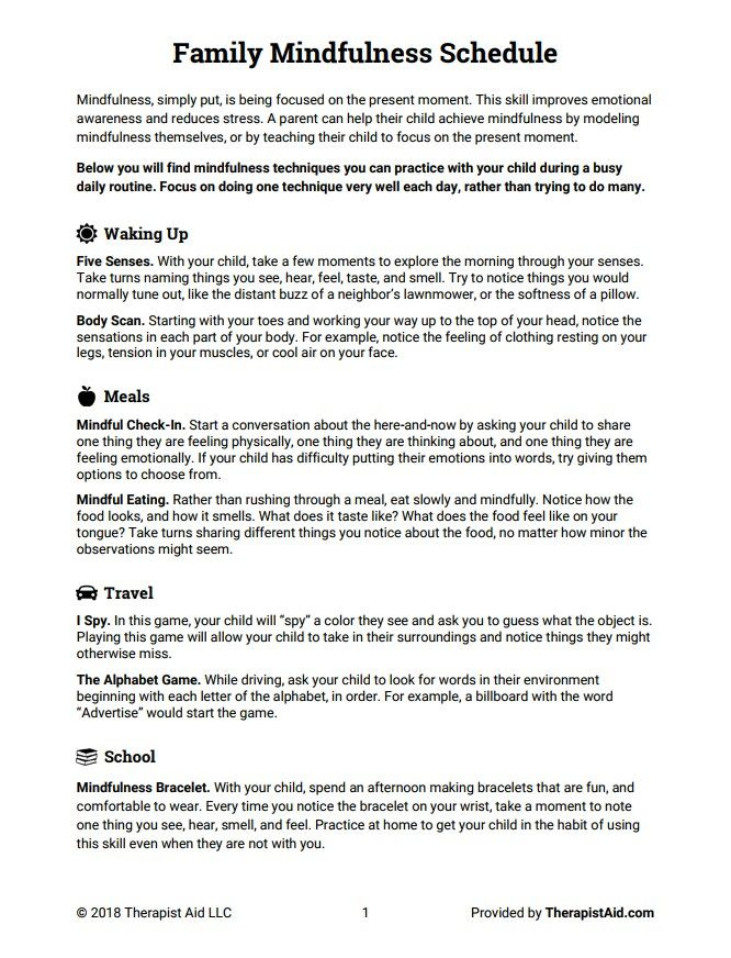 Worksheet family mindfulness 1 Emotional awareness