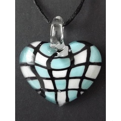 Murano Lampwork Checked Heart Pendant for R45.00