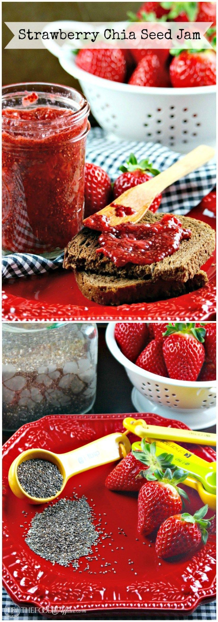 Easy Strawberry Chia Seed Jam is made without refined sugar and takes less than 15 minutes to make! Chia is a nutritional powerhouse adding protein, fiber and Omega-3s to your diet. The Foodie Affair