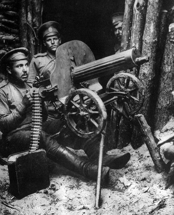 World War I, Russian machine gunners near Brest-Litovsk, 1915
