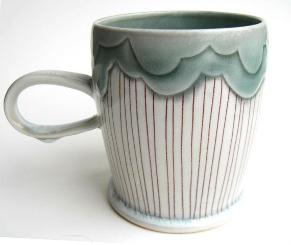 MADE TO ORDER Rain Cloud Porcelain Mug by SilverLiningCeramics, $38.00