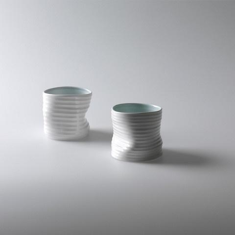 Quake Mugs white & aqua  by Design House Stockholm, Click to Experience.