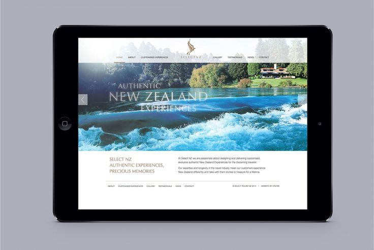 Select NZ Website Design by Onfire Design. Select NZ is the only one place where the best of the best upmarket, luxury experiences can all be found on the same page. www.selectnz.co.nz