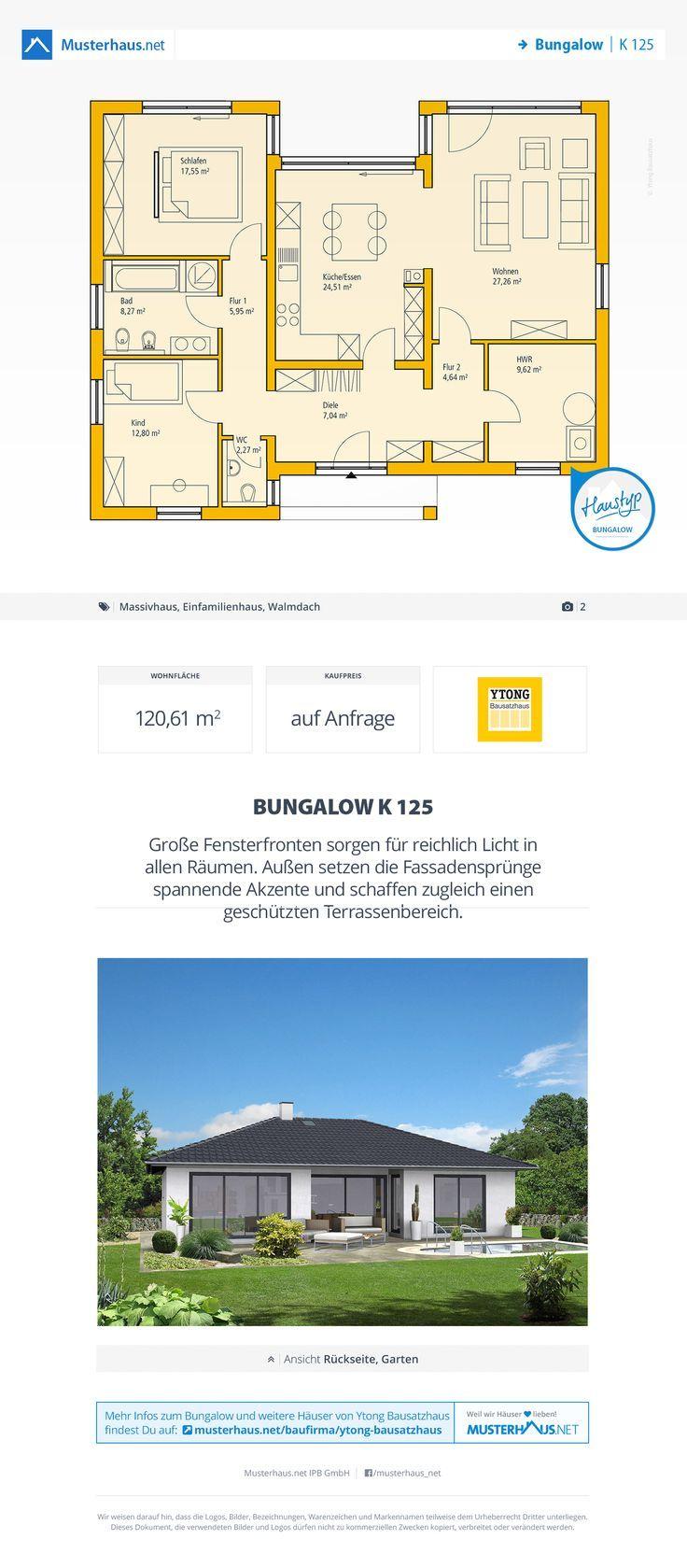 Bungalow Grundriss, 121 m², offene Küche Bungalow