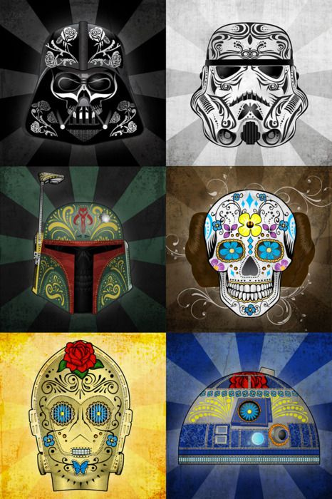 fuck-yeah-tumblrs-best-posts:    unknownskywalker:  Star Wars Day of the Dead by John Karpinsky  Submitted bycristienne