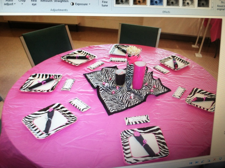 Used Hot Pink Tablecloths From Hobby Lobby Added A Zebra
