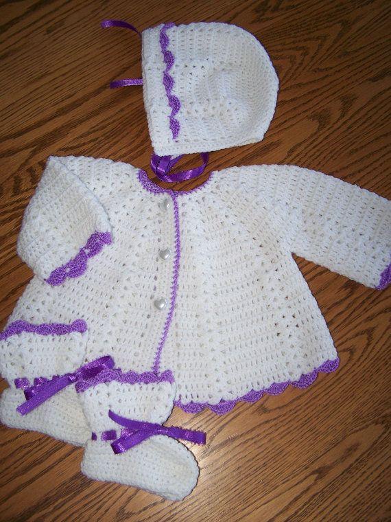 New Hand Crocheted 3 Pc Sweater Set for Newborn/Reborn | crochet ...