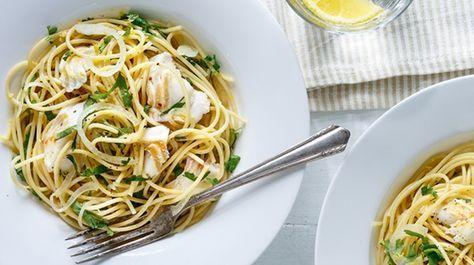 Spaghettis à l'aiglefin et au citron de Ricardo. Recette #IGA #spaghetti #aiglefin #citron #poisson #ricardo