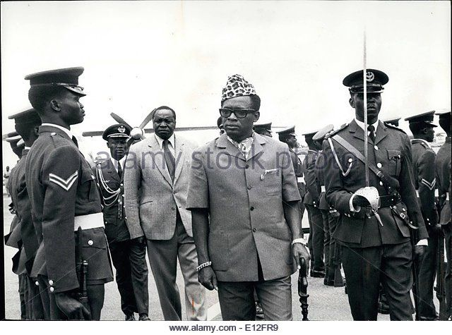 Jan. 09, 2012 - During his official Visit to Uganda, President Mobutu Sese Seko of Zaire Inspects a Smart Contingent - Stock Image