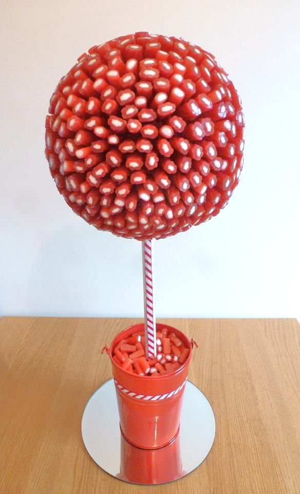 Sweet Tree made from red and white liquorice, held in place by cocktail sticks. Created with bucket, dowel and polyball from www.craftmill.co.uk By Candy Grove - Sweet Creations https://www.facebook.com/candytreegrove