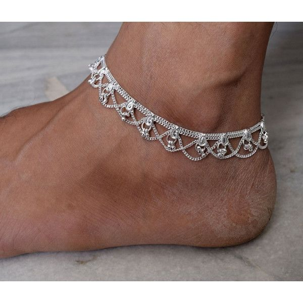 Silver anklet, Silver rope anklet, Silver ankle bracelet, Minimalist... (14 AUD) ❤ liked on Polyvore