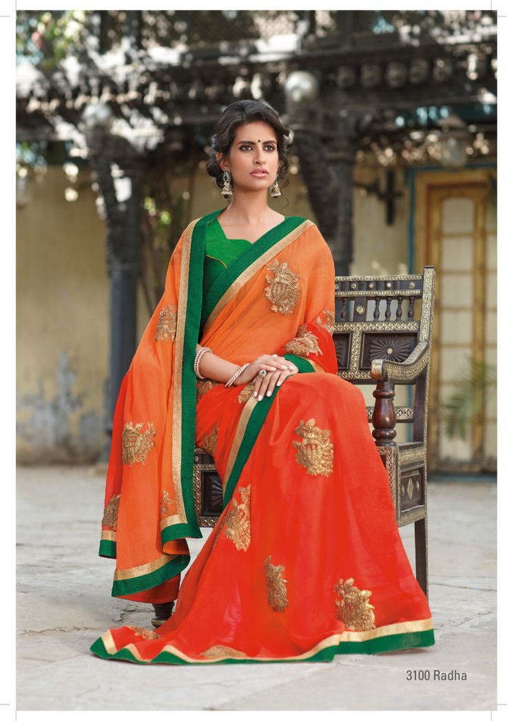 """Orange color indicates purity. And """"RADHA""""  named is given to this design no, Radha who is idol of pure love towards Shri Krishna. And it's really suits on this orange  chiffon saree with golden ribbon work"""
