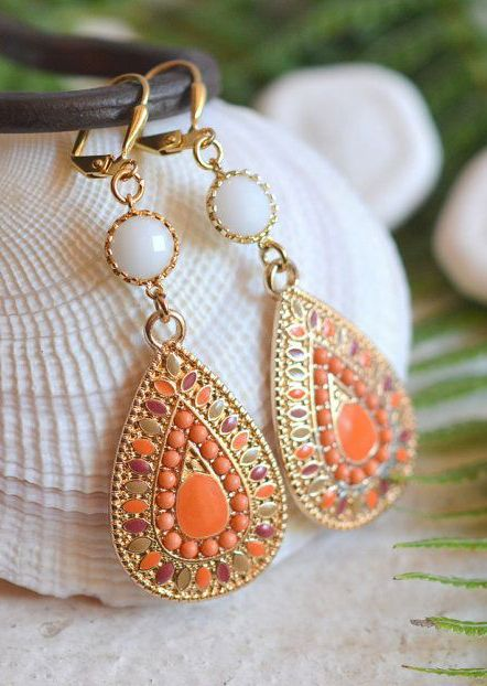 Orange and White Statement Earrings in Gold