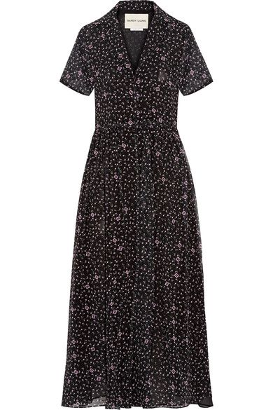 Sandy Liang - Picasso Printed Chiffon Midi Dress - Black - FR36