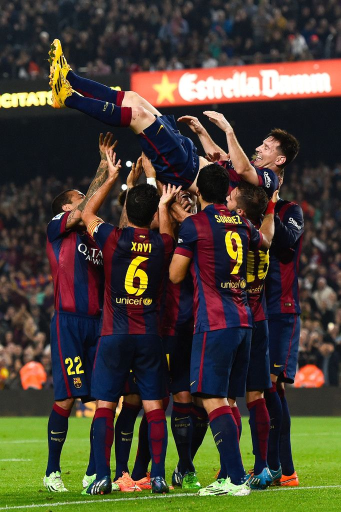 - Lionel Messi of FC Barcelona celebrates with his teammates after scoring against Sevilla FC on November 22, 2014 in Barcelona - #Messi #leomessi #soccer #futbol #Barcelona #Barca http://www.pinterest.com/TheHitman14/lionel-messi-%2B/