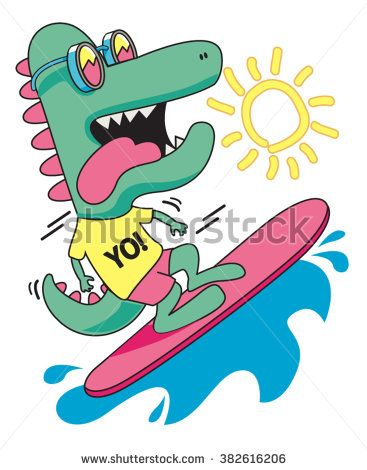 cool, cute monster crocodiles character. surfer, surf, surfboard