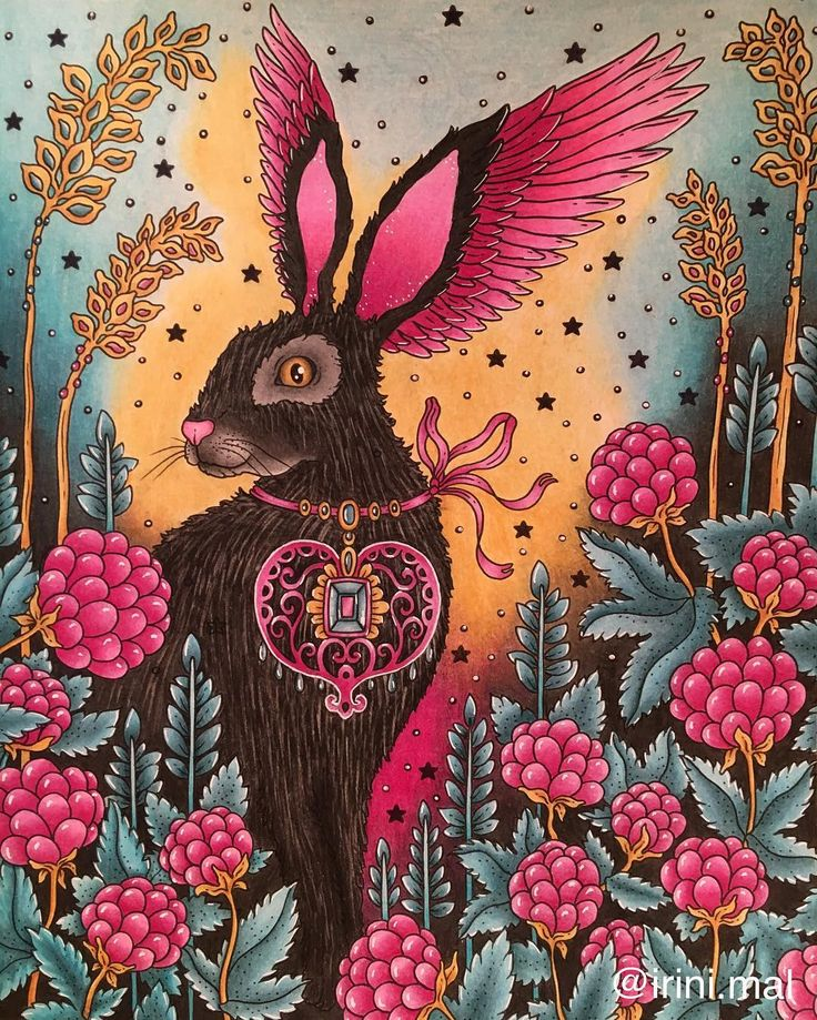 This feathery rabbit 🐰 from #magiskgryning is part of a fun color along with great friends @booktalk27 @cindycink @eyeloveit00 @blonndi1231 @megamupparitar @oz_pam @christiescolours @annabellapurple @fun_with_color .It was a pleasure girls!! ❤️😘😘 #hannakarlzon #adultcoloringbook #bayan_boyan #coloring_secrets #divasdasartes #boracolorirtop #arte_e_colorir #creativelycoloring #adultcoloringforum #wonderfulcoloring #prazeremcolorir
