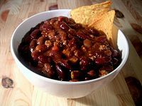 Chili, sometimes also presented as chili con carne, is made with beef ...
