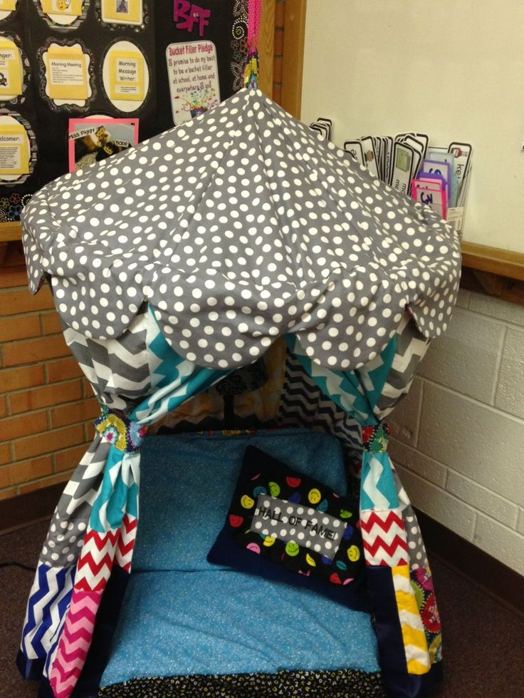 Hula Hoop Tent I made using the free tutorial from Hobby Lobby website (under projects) for my classroom reading corner.