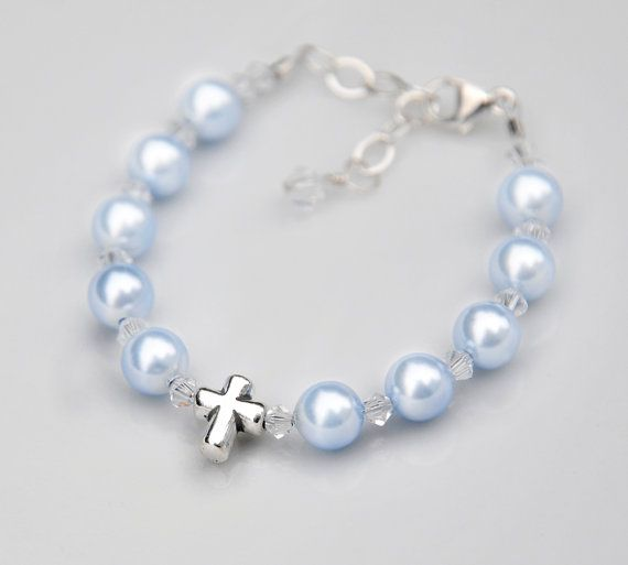 Baptism Bracelet Gift for Baby Boy - Sterling Silver Cross Rosary - All Pale Blue Swarovski Pearls Crystal - Catholic Christening Gift Idea