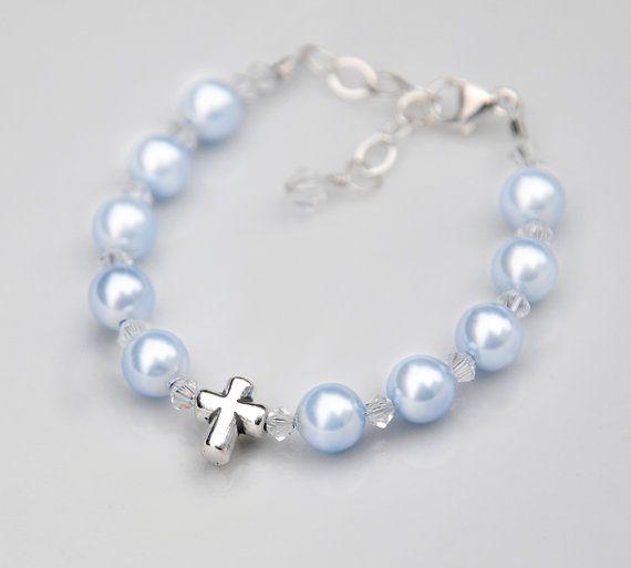Baptism Bracelet Gift for Baby Boy - Sterling Silver Cross Rosary - All Pale Blue Swarovski Pearls Crystal - Catholic Christening Gift Idea