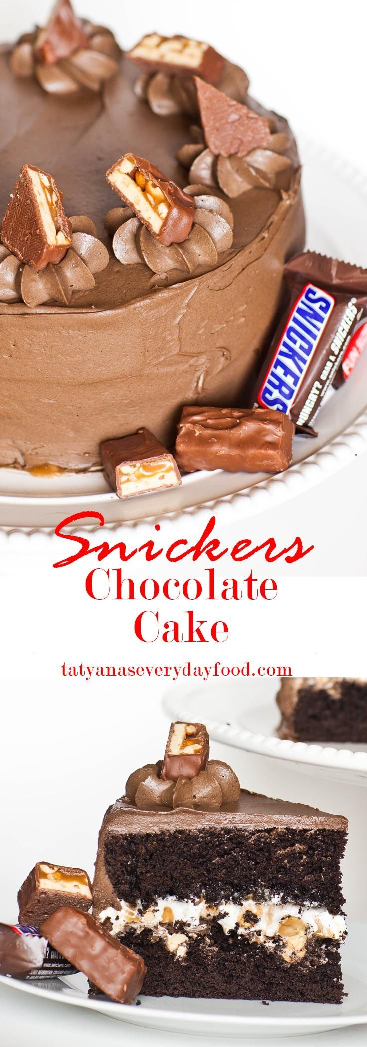 Snickers-inspired chocolate cake with marshmallow cream and salted peanut caramel sauce ~ Video Recipe from Tatyana's Everyday Food