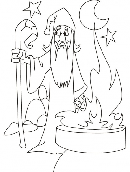 Wizard Needs Someone To Complete His Mission Coloring Pages