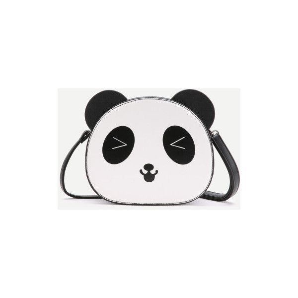 Black And White Panda Shaped Crossbody Bag (€27) ❤ liked on Polyvore featuring bags, handbags, shoulder bags, black and white, crossbody shoulder bag, crossbody handbags, black and white purse, white and black handbags and black white handbag