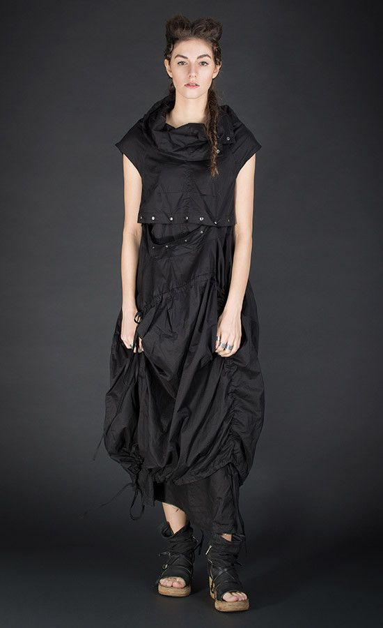 MARILEE - Double-layered black dress / Available also in grey old dye colour variant | Studio B3 |