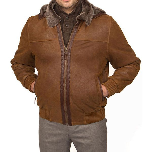 Tatto di Pelle Men's Bomber Shearling Jacket ($623) ❤ liked on Polyvore featuring men's fashion, men's clothing, men's outerwear, men's jackets, brown, mens lightweight jacket, mens lightweight bomber jacket, mens bomber jacket and mens insulated jacket