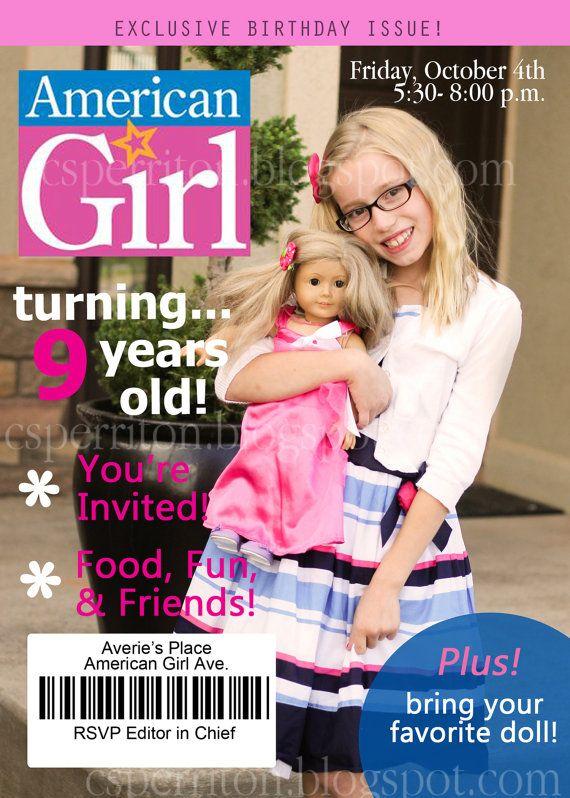 American Girl Doll Magazine Cover Invite inviteflo @ etsy