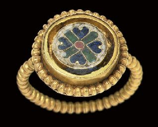 A BYZANTINE GOLD AND ENAMEL FINGER RING     									MIDDLE BYZANTINE, CIRCA 10TH CENTURY A.D.
