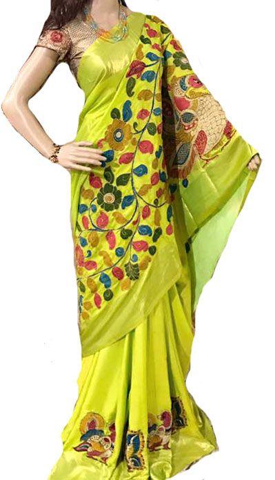 Yellow Kalamkari Applique Work Pure Silk Saree