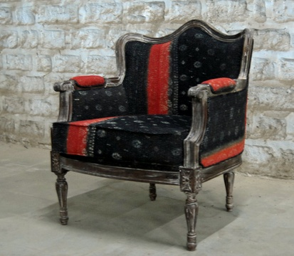 Gorgeous chair upholstered with sari fabric crafty for Sari furniture designer