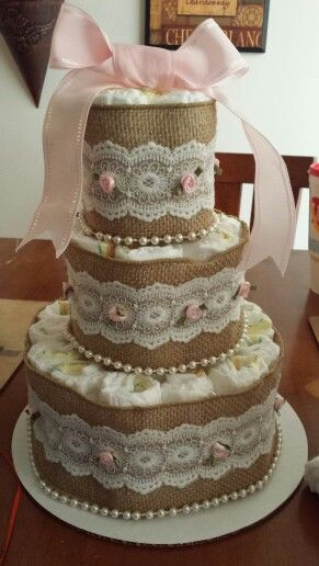 Vintage / shabby chic baby shower diaper cake.