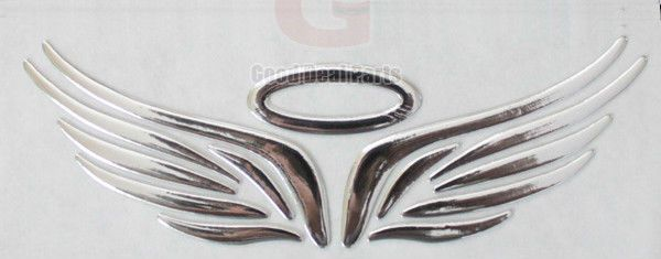Silver 3D Guardian Angel Wings Car Emblem Decal Sticker Truck Van Logo Decal  #UnbrandedGeneric