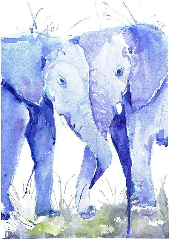 Due elefanti, acquerello, fauna selvatica, parete arredamento, animale arte, stampa d'arte, nursery decor, regalo di giorno di San Valentino, arte bambini, illustrazione