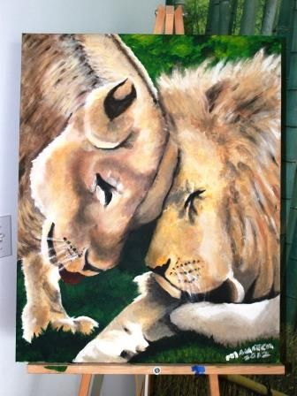 Lion couple painting