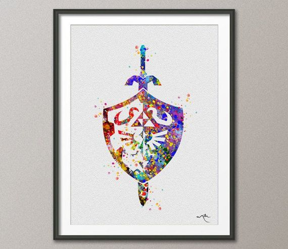 Shield and Sword Legend of Zelda Modern Link Watercolor Art Print Wall Art Poster Giclee Wall Decor Home Decor Wall Hanging No 264