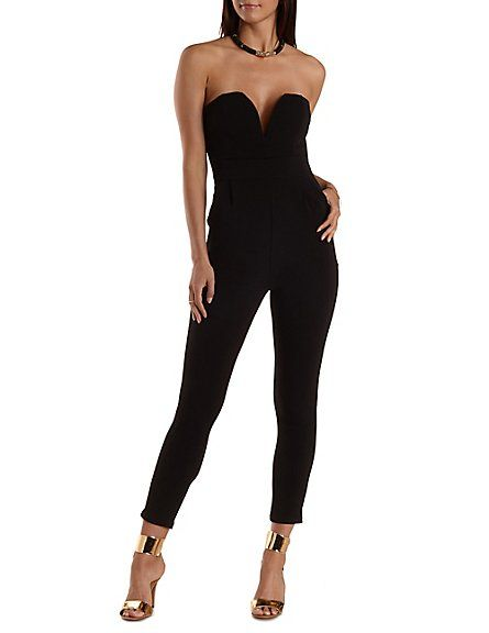Plunging Sweetheart Strapless Jumpsuit: Charlotte Russe #jumpsuit