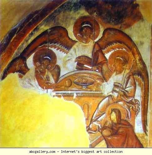 The Holy Trinity. This picture is Theophanes the Greek. The Trinity. 1378. Fresco. The Church of Our Savior on Ilyin Street, Novgorod, Russia. Thi s is a good picture for the trinity.