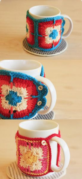 Cute knitted cup cozy