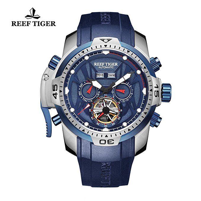 Arrecife de tigre del reloj del deporte para hombre azul del acero del dial luminoso automático del reloj RGA3532